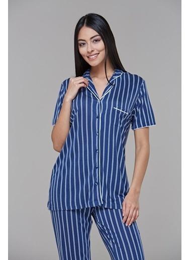 Pjs Pjs 21544 Bayan Çizgili Önden Dügmeli Pijama Takımı  Lacivert